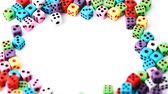 opportunities : many colorful dice stacked in circle rotate on white background, close-up