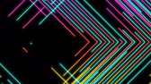 doğru : Abstract Line right angle Lighting moving pink yellow and blue color, technology network digital data transfer concept design, glowing on black background seamless looping animation 4K with copy space