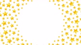 yellow : Christmas star symbol pattern rotate moving gold color illustration on white background seamless looping animation 4K, and luma matte alpha channel with copy space