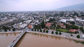 CHIANG MAI, THAILAND - September, 2016, 21: Top view of Chiang Mai City Scape, bridge and ping river in Chiang Mai Stock Footage