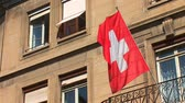 geneva : Swiss flag Stock Footage
