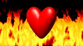 hd : Burning heart in fire seamless loop video Stock Footage