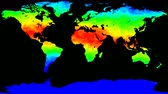 cartografia : World map thermo waves seamless loop 4k UHD Stock Footage