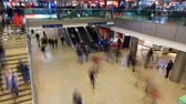 november : Hannover, Germany - November 29, 2017: Time lapse of people bustling in busy train station Hannover, Germany