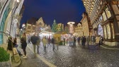 Christmas Market on the historic market place in Hildesheim, Germany. Time lapse.