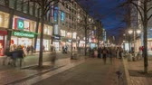 aydınlatılmış : Hannover, Germany - January 31, 2018: Georgstrasse in Hannover is the shopping mile in the town middle of the capital from Lower Saxony.