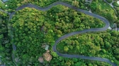 modo de transporte : Aerial flight Drone flying over Curve road through the beautiful green rainforest Top view Aerial view from drone footage