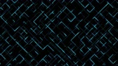 блоки : Abstract neon glowing lines, stripes and dots running on grid. Seamless lopped motion futuristic tech background Стоковые видеозаписи