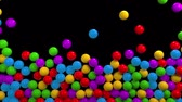 piccolo : Colorful glossy balls falling from top. Kids plastic shiny toys, abstract motion background