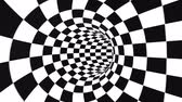 市松 : Abstract flowing checkered tunnel optical illusion. Black and white checker motion pattern. Seamless loop background