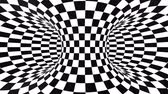 Abstract flowing checkered tunnel optical illusion. Black and white checker motion pattern. Seamless loop background