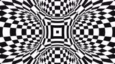 hipnoza : Abstract flowing checkered tunnel optical illusion. Black and white checker motion pattern. Seamless loop background