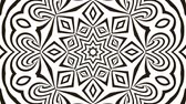 Abstract flowing striped kaleidoscope tunnel optical illusion. Black and white lines motion pattern. Seamless loop background