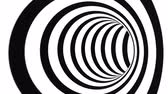 Abstract flowing tunnel optical illusion. Black and white lines motion pattern. Seamless loop background Vídeos