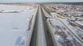 junção : city highway in the winter. Aerial top view