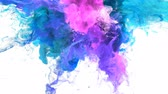 paint spray : Color Burst - colorful blue pink cyan purple smoke explosion from above fluid gas ink particles slow motion alpha matte isolated on white