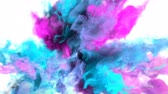 kitörés : Color Burst - colorful magenta cyan smoke explosion fluid gas ink particles slow motion alpha matte isolated on white macro close-up Stock mozgókép
