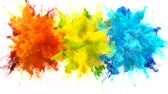 csík : Orange Yellow Blue Color Burst - Multiple colorful smoke powder explosion fluid ink particles slow motion alpha matte isolated on white Stock mozgókép
