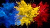 Blue, Yellow, Red Color Burst - Multiple colorful smoke powder explosion fluid ink particles slow motion alpha matte isolated on black