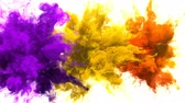 Purple, Yellow, Orange Color Burst - Multiple colorful smoke powder explosion fluid ink particles slow motion alpha matte isolated on white