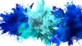 Blue, Cyan Color Burst - Multiple colorful smoke powder explosion fluid ink particles slow motion alpha matte isolated on white Stock Footage