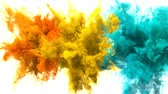 Orange, Yellow, Cyan Color Burst - Multiple colorful smoke powder explosion fluid ink particles slow motion alpha matte isolated on white