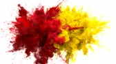 holi : Red, Yellow Color Burst - Multiple colorful smoke powder explosion fluid ink particles slow motion alpha matte isolated on white Stock Footage