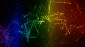 colorful iridescent rainbow abstract digital nodes and connection paths within network or system of networks animation can be used for visuals, vj, light presentations motion background Seamless Loop Stock Footage
