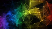 colorful iridescent rainbow abstract digital nodes and polygon connection paths within network or system of networks animation for visuals vj light presentations motion background Loop