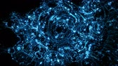 pensieri : Visual representation flying through blue abstract digital tunnel funnel artificial intelligence neural network organic animation visuals, vj, light presentations motion background loop Filmati Stock