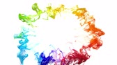 Iridescent multicolored rainbow particle paint colored vivid powder smoke shockwave circle explosion logo and copy space copyspace top view creative animation alpha channel 4k 60fps isolated on white