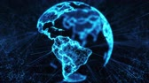 Blue Digital Globe with big data social network. Earth hologram flying in cyberspace. Rotating scientific 3D planet with futuristic business technology. Abstract connectivity concept. Background loop Dostupné videozáznamy
