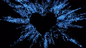 Sapphire blue shining glitter burst explosion forming a heart shaped hole. St. Valentines Day love animation. Vivid bokeh sparkles, glowing particles. Romantic lovely logo copy space. Alpha copyspace 무비클립