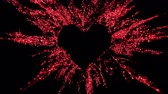 forming : Ruby red shining glitter burst explosion forming a heart shaped hole. St. Valentines Day love animation. Vivid bokeh sparkles, glowing particles. Romantic lovely logo copy space. Alpha copyspace 4k Stock Footage