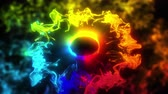 Multiple iridescent multicolored circle particle explosions. Vivid rainbow colored powder smoke. Glowing pulsating shockwave paint. 4k logo copy space gas animation. Isolated on black VJ loop alpha