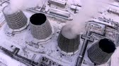 rafineri : Aerial top view clouds of smoke and steam cooling tower industrial heat electro central coal. Environmental pollution concept