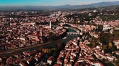 terracota : Aerial view Cityscape of Verona city and Arena, Italy drone, Veneto region.