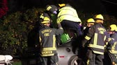 itfaiyeci : Patient lifted out of car wreck on vertical spinal board Male victim extricated by paramedics and firemen out of a crashed gray sport car by being lifted on a spinal board. Stok Video