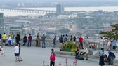 4K UHD - Tourists relaxing and enjoying the view at impressive observation deck Stok Video