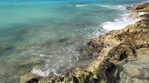destino : Rocks beach with caribbean sea turquoise water Stock Footage