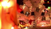 New year and Christmas celebration near fireplace in cozy room Stock Footage