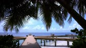 lunchroom : Wooden pier with chairs and tables on maldivian island, travel vacation Stock Footage