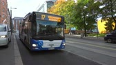 City Helsinki street with people and bus Stock Footage