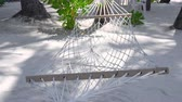 Куба : Hammock on sandy beach. Nobody Стоковые видеозаписи