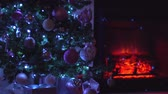 камин : Fir tree near fireplace decorated for Christmas holidays