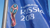petersburg : FIFA World Cup 2018 Flag waving on wind at the street