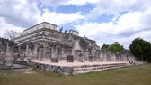 chichen : Temple of warriors and a thousand pillars in Chichen Itza, Yucatan Stock Footage