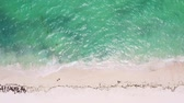 ハワイ : Aerial view from drone on caribbean sea with waves