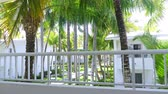 varanda : Tropical view on garden with palm trees from hotel balcony. Summer vacations Vídeos