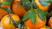 group of objects : A lot of tangerines with green leaves Stock Footage